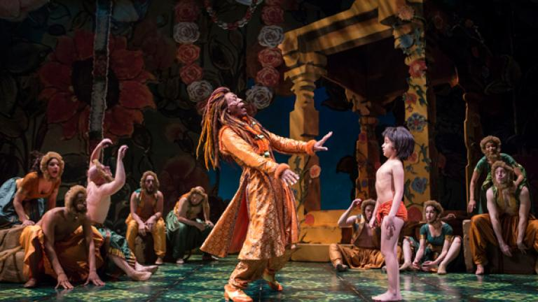 André De Shields (King Louie) and Akash Chopra (Mowgli) in Tony Award winner Mary Zimmerman's new musical adaption of The Jungle Book; courtesy Goodman Theatre