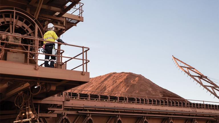 Manganese is one of the materials processed at a refinery in Worsley, Australia. (Courtesy of South32)