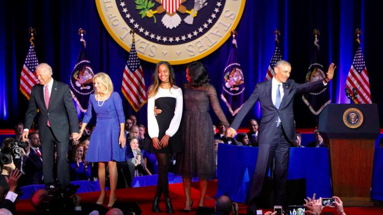 Vice President Joe Biden, Dr. Jill Biden, Malia Obama, First Lady Michelle Obama and President Barack Obama wave to the crowd at the end of the president's farewell address. (Evan Garcia / Chicago Tonight)