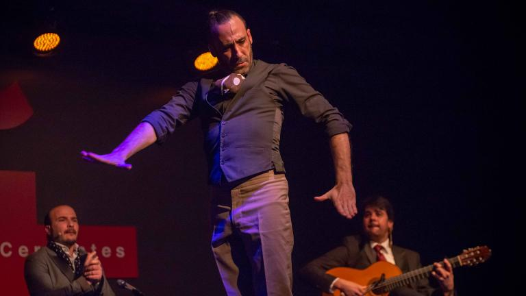 Flamenco dancer Jesus Ortega in the opening program of Instituto Cervantes' Chicago Flamenco Festival. (Photo by John Boehm)