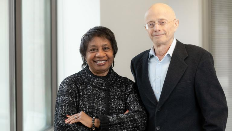 DePaul University psychology professors W. LaVome Robinson, left, and Leonard A. Jason have received a $6.6 million grant to fund research to reduce African American youth violence. (DePaul University / Jeff Carrion)