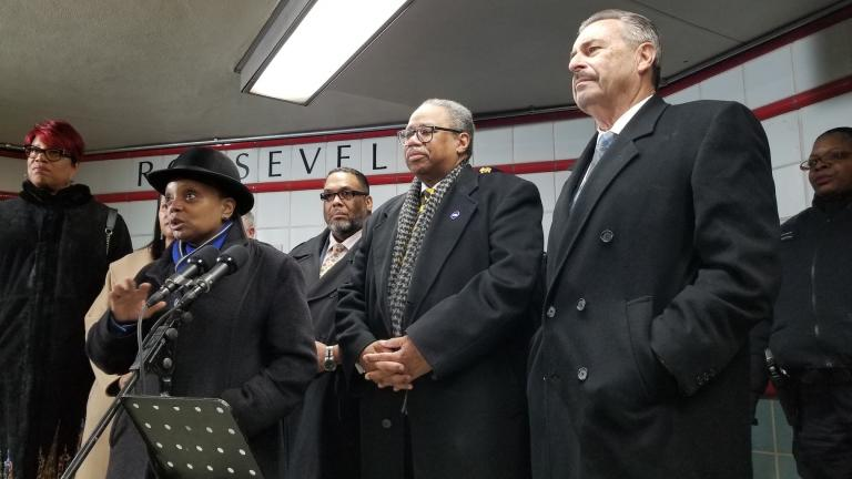 Chicago Mayor Lori Lightfoot, CTA President Dorval R. Carter Jr., center, and CPD interim Supt. Charlie Beck, right, address the media Friday morning inside the Roosevelt Red Line CTA station. (Matt Masterson / WTTW News)