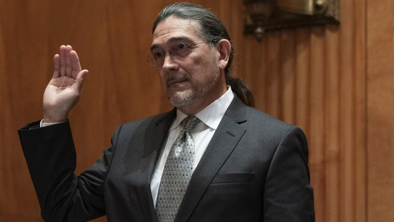 Census Bureau Director nominee Robert Santos is sworn in to testify before the Senate Homeland Security and Governmental Affairs committee, Thursday, July 15, 2021. If confirmed, Robert Santos, a third-generation Mexican American, would be the first person of color to be a permanent head of the nation's largest statistical agency. (AP Photo / Jacquelyn Martin)