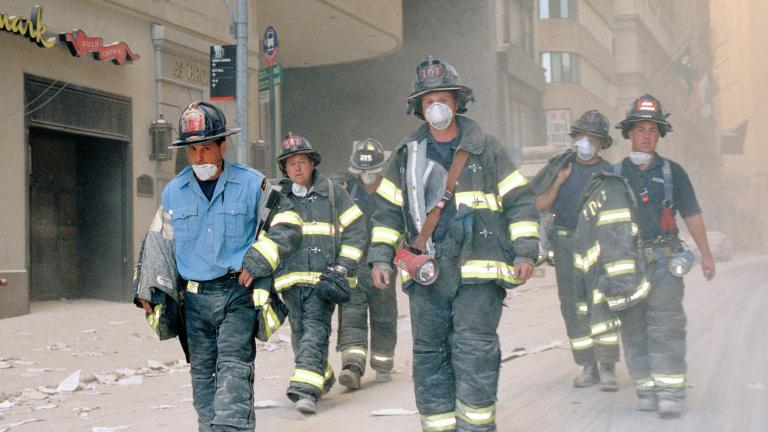 Firefighters on Broadway, September 11, 2001. Image Credit: Nicola McClean