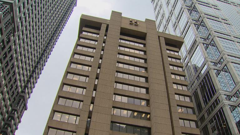 55 West Wacker Drive, originally the Blue Cross Blue Shield Building, is an archetypal example of brutalism. (WTTW News)