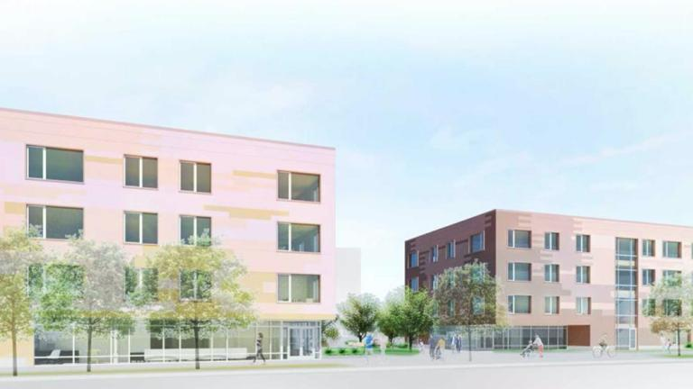A rendering of the proposed apartment complex near Lawrence and Austin avenues in Jefferson Park. (Credit: Full Circle Communities)