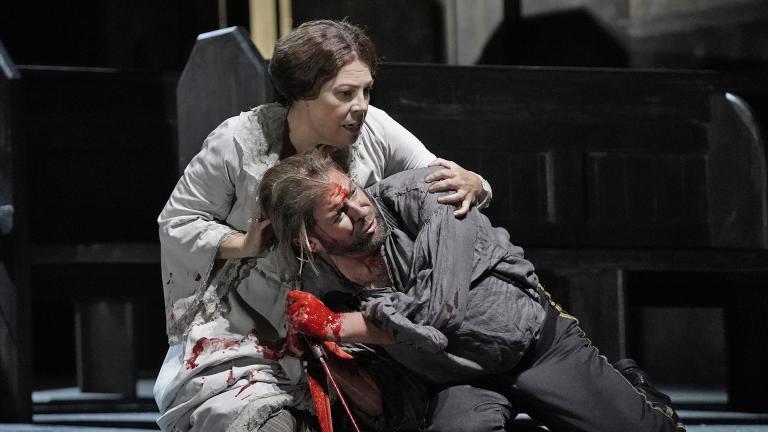 "Sondra Radvanovsky and Craig Colclough in the Lyric Opera production of ""Macbeth."" (Photo by Ken Howard)"