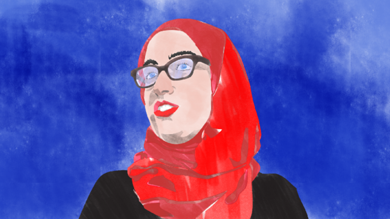 The 90 Days, 90 Voices website features stories of immigrants and refugees in Chicago, including Hadia Zarzour. (Illustration by Daniel J. Rowell)