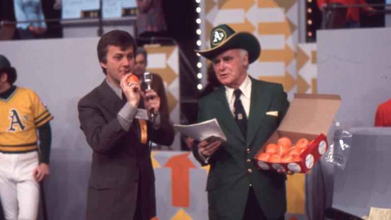 Charlie Finley participates in the WTTW auction in 1976. (WTTW)