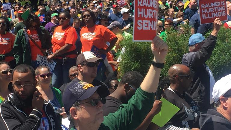 AFSCME members protest in Springfield in May 2016. (Amanda Vinicky / Chicago Tonight)