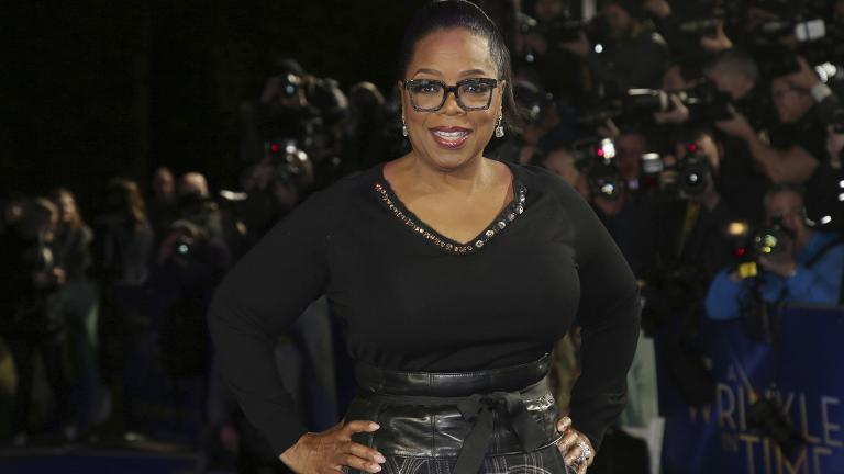 "In this March 13, 2018, file photo, actress Oprah Winfrey poses for photographers upon arrival at the premiere of the film ""A Wrinkle In Time"" in London. (Photo by Joel C Ryan / Invision / AP File Photo)"