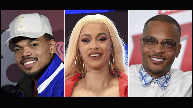 This combination photo shows rappers, from left, Chance the Rapper, Cardi B and T.I., who will work as judges in a new Netflix competition series looking for the next big hip-hop star. (AP Photo)