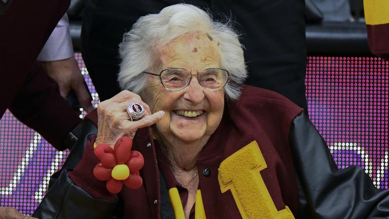 Loyola University of Chicago's Sister Jean shows off the NCAA Final Four ring she received Tuesday, Nov. 27, 2018 before an NCAA college basketball game between Loyola of Chicago and Nevada. (Matt Marton / AP Photo)