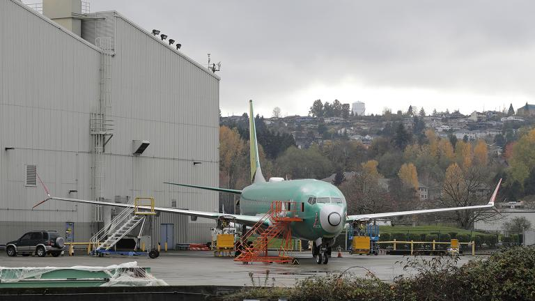 In this Nov. 14, 2018, file photo a Boeing 737-MAX 8 is parked outside Boeing Co.'s 737 assembly facility in Renton, Wash. (Ted S. Warren / AP File Photo)