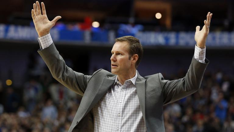 In this Oct. 22, 2018, file photo, Chicago Bulls head coach Fred Hoiberg questions a call during the second half of an NBA basketball game against the Dallas Mavericks. (Michael Ainsworth / AP File Photo)