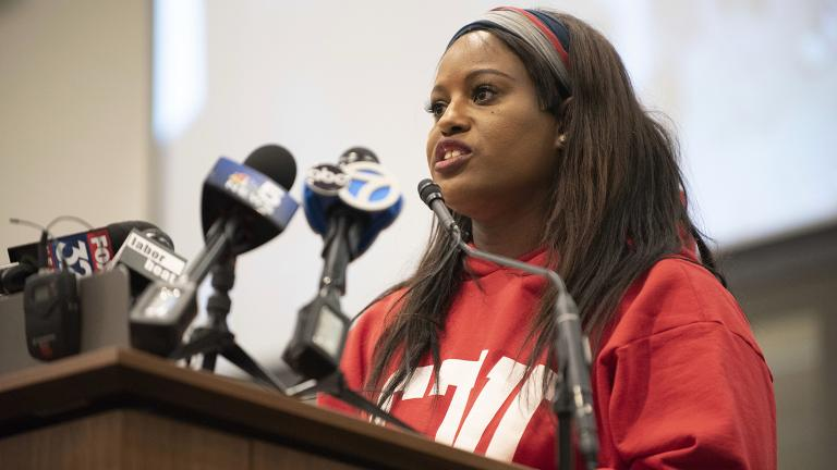 Stacy Davis Gates, vice president of the Chicago Teachers Union, speaks during a news conference at the CTU headquarters in Chicago on Sunday, Dec. 9, 2018. (Colin Boyle / Chicago Sun-Times via AP)