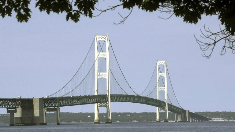 This July 19, 2002, file photo, shows the Mackinac Bridge that spans the Straits of Mackinac from Mackinaw City, Michigan. (Carlos Osorio / AP File Photo)