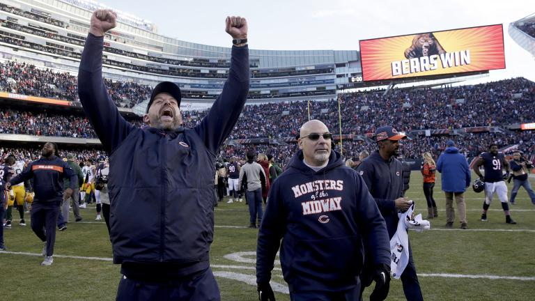 Chicago Bears head coach Matt Nagy celebrates after an NFL football game against the Green Bay Packers Sunday, Dec. 16, 2018, in Chicago. The Bears won 24-17. (David Banks / AP Photo)