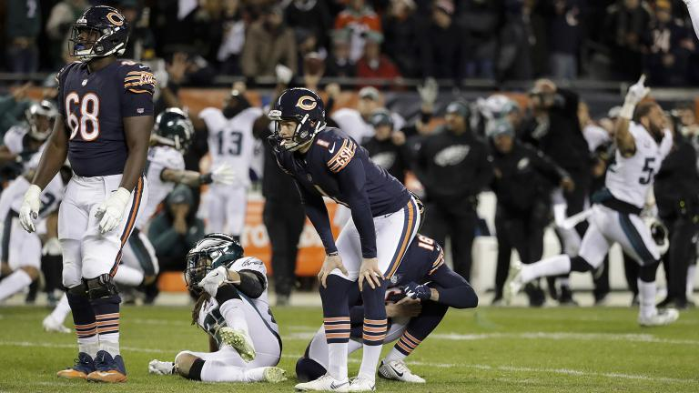 Chicago Bears kicker Cody Parkey (1) reacts after missing a field goal in the closing minute during the second half of an NFL wild-card playoff football game against the Philadelphia Eagles on Sunday, Jan. 6, 2019. (Nam Y. Huh / AP Photo)