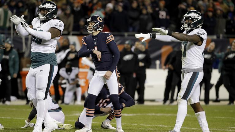 Chicago Bears kicker Cody Parkey (1) watches as he misses a field goal in the final minute during the second half of an NFL wild-card playoff football game against the Philadelphia Eagles Sunday, Jan. 6, 2019. (AP Photo / Nam Y. Huh)