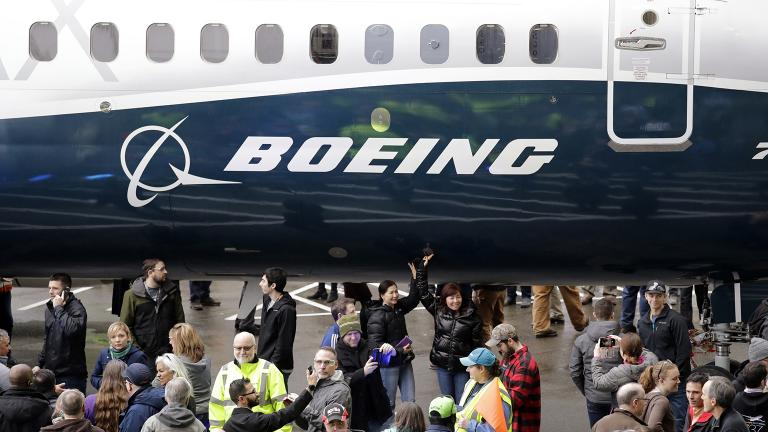 In this Feb. 5, 2018, file photo a Boeing 737 MAX 7, the newest version of Boeing's fastest-selling airplane, is displayed during a debut for employees and media of the new jet in Renton, Wash. (AP Photo / Elaine Thompson, File)