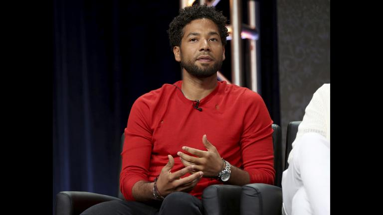 "In this Aug. 8, 2017 file photo, Jussie Smollett participates in the ""Empire"" panel during the FOX Television Critics Association Summer Press Tour at the Beverly Hilton in Beverly Hills, California. (Photo by Willy Sanjuan / Invision / AP, File)"