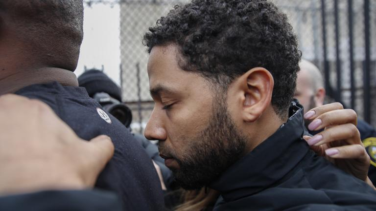 """Empire"" actor Jussie Smollett leaves Cook County jail following his release, Thursday, Feb. 21, 2019. (AP Photo / Kamil Krzaczynski)"