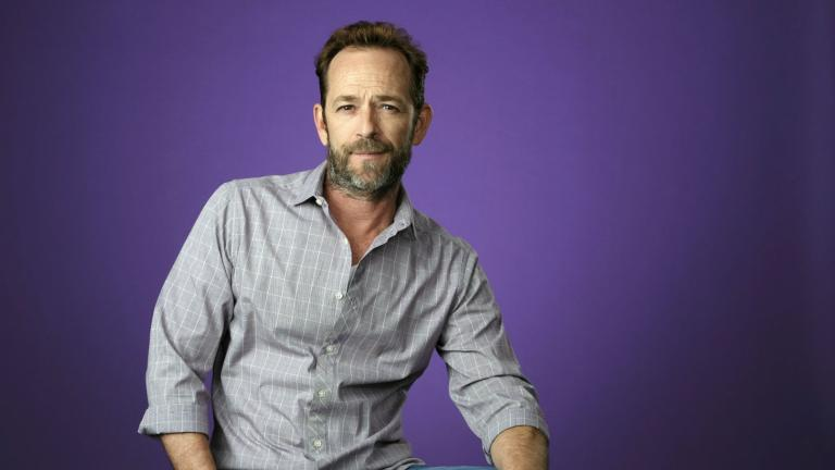 In this Aug. 6, 2018, file photo, Luke Perry poses for a portrait during the 2018 Television Critics Association Summer Press Tour in Beverly Hills, California. (Photo by Chris Pizzello / Invision /AP, File)