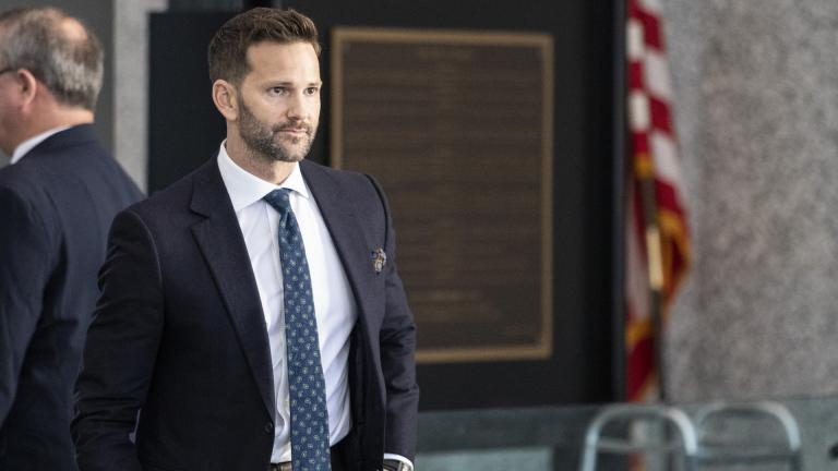 Former U.S. Rep. Aaron Schock walks into the Dirksen Federal Courthouse on Wednesday, March 6, 2019. Schock was scheduled to appear in court for the first time since the U.S. Supreme Court declined to get involved in his corruption case. (Ashlee Rezin / Chicago Sun-Times via AP)