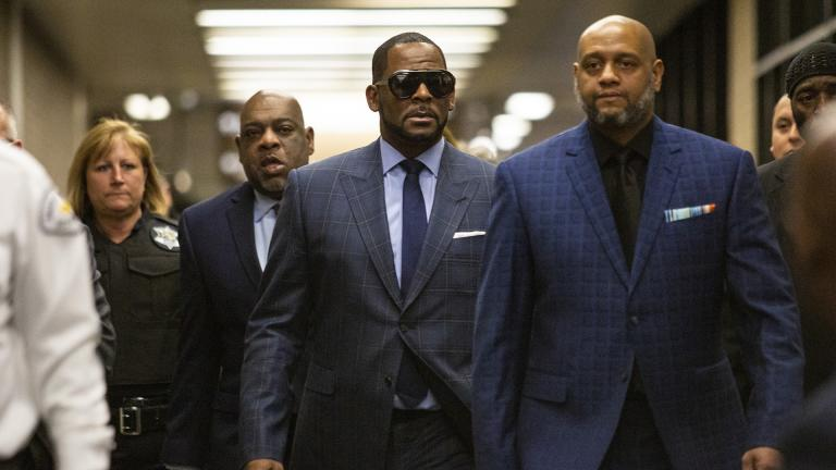 Musician R. Kelly arrives at the Daley Center for a hearing in his child support case at the Daley Center, Wednesday, March 6, 2019, in Chicago. (Ashlee Rezin / Chicago Sun-Times via AP)