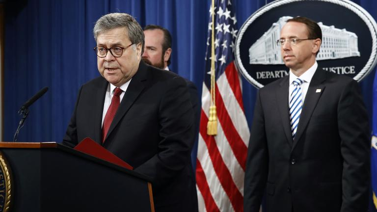 Attorney General William Barr speaks alongside Deputy Attorney General Rod Rosenstein, right, and Deputy Attorney General Ed O'Callaghan, rear left, about the release of a redacted version of special counsel Robert Mueller''s report during a news conference, Thursday, April 18, 2019, at the Department of Justice in Washington. (AP Photo / Patrick Semansky)
