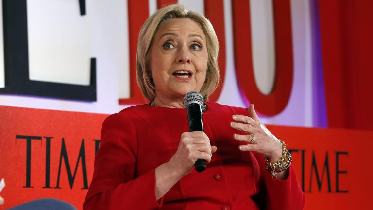 Hillary Clinton speaks during the TIME 100 Summit, in New York, Tuesday, April 23, 2019. (AP Photo / Richard Drew)