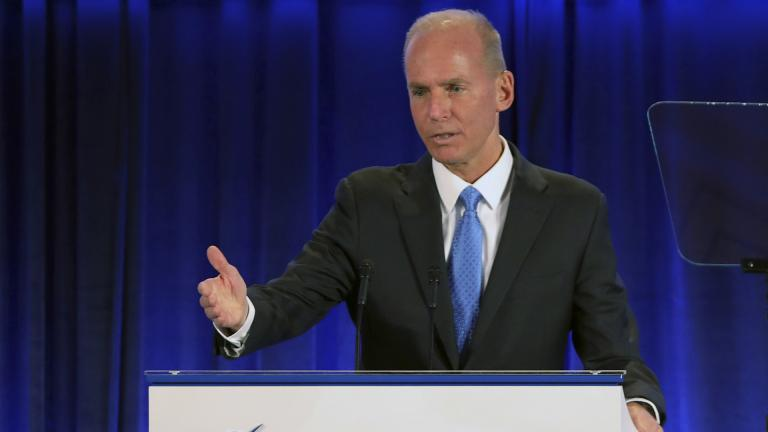 Boeing Chief Executive Officer Dennis Muilenburg speaks Monday, April 29, 2019 at the Boeing Annual General Meeting in Chicago. (John Gress / Reuters via AP, Pool)