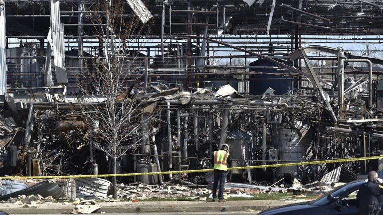 Emergency personnel work at the scene of an explosion at AB Specialty Silicones on Sunset Ave. and Northwestern Ave. on the border between Gurnee and Waukegan. The explosion happened Friday, May 3. (John Starks / Daily Herald via AP)