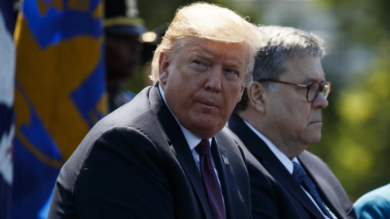 President Donald Trump sits with Attorney General William Barr during the 38th Annual National Peace Officers' Memorial Service at the U.S. Capitol, Wednesday, May 15, 2019, in Washington. (AP Photo / Evan Vucci)
