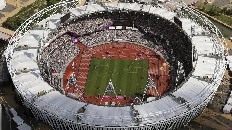 In this Aug. 3, 2012, file photo, Olympic Stadium is viewed during the Summer Olympics at Olympic Park in London. (AP Photo / Jeff J Mitchell, Pool, File)