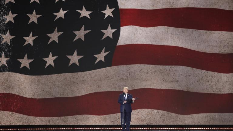 President Donald Trump speaks during an event to mark the 75th anniversary of D-Day in Portsmouth, England Wednesday, June 5, 2019. (AP Photo / Matt Dunham)