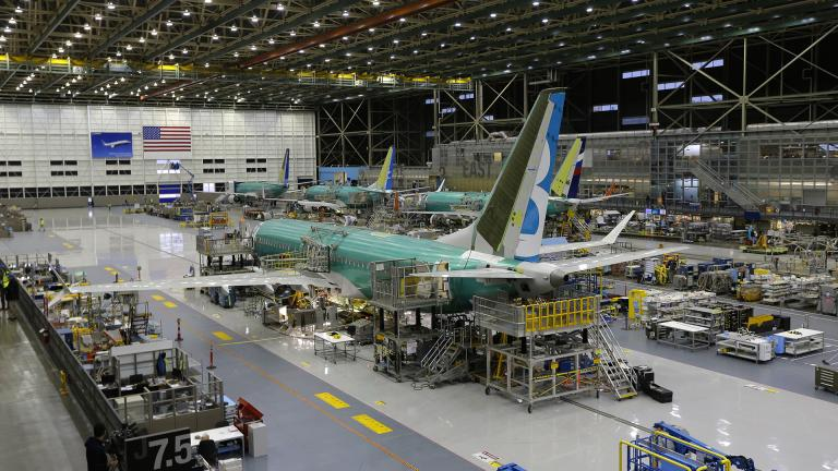 This Dec. 7, 2015, file photo shows the second Boeing 737 MAX airplane being built on the assembly line in Renton, Washington. (AP Photo / Ted S. Warren, File)