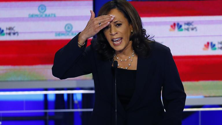 In this June 27, 2019, photo, Democratic presidential candidate Sen. Kamala Harris, D-California, gestures during the Democratic primary debate hosted by NBC News at the Adrienne Arsht Center for the Performing Arts in Miami. (AP Photo / Wilfredo Lee)