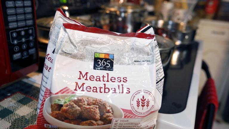 "A federal lawsuit says Mississippi is violating free-speech rights by banning makers of plant-based foods from using terms such as ""meatless meatballs,"" ""vegan bacon,"" ""beefless burger"" or ""beefless tips,"" as displayed in a Jackson, Miss., home, Tuesday, July 2, 2019. (AP Photo / Rogelio V. Solis)"