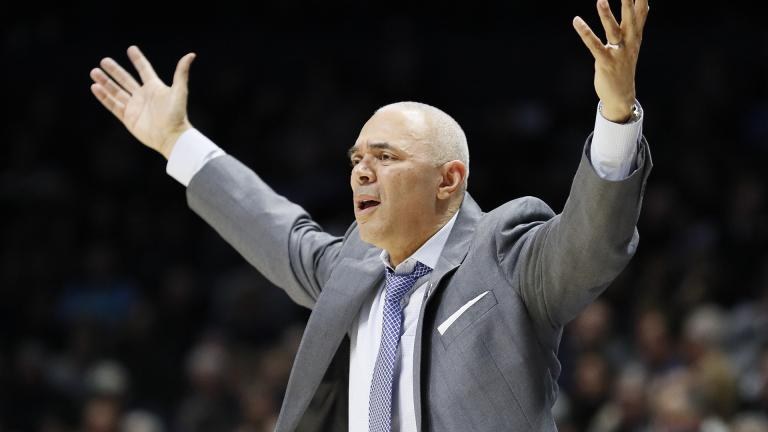 In this Feb. 9, 2019, file photo, DePaul head coach Dave Leitao reacts during the second half of an NCAA college basketball game, in Cincinnati. (AP Photo / John Minchillo, File)