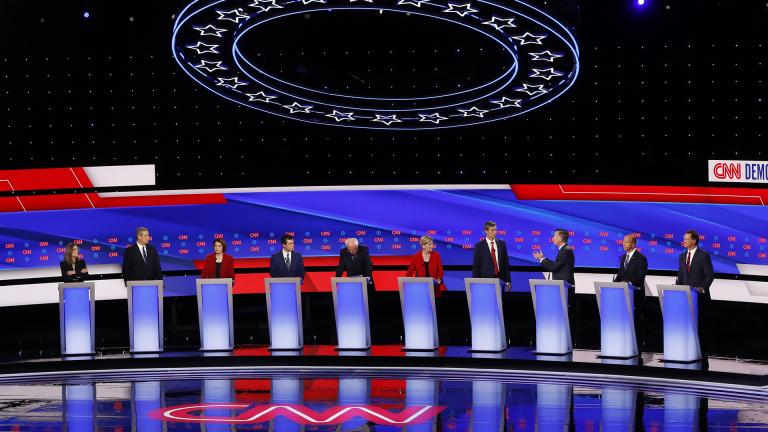 From left, Marianne Williamson, Rep. Tim Ryan, D-Ohio, Sen. Amy Klobuchar, D-Minn., South Bend Mayor Pete Buttigieg, Sen. Bernie Sanders, I-Vt., Sen. Elizabeth Warren, D-Mass., former Texas Rep. Beto O'Rourke, former Colorado Gov. John Hickenlooper, former Maryland Rep. John Delaney and Montana Gov. Steve Bullock participate in the first of two Democratic presidential primary debates hosted by CNN Tuesday, July 30, 2019, in the Fox Theatre in Detroit. (AP Photo / Paul Sancya)