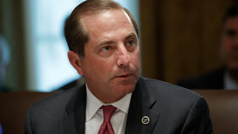 In this Tuesday, July 16, 2019, file photo, Health and Human Services Secretary Alex Azar pauses while speaking during a Cabinet meeting at the White House, in Washington. (AP Photo / Alex Brandon, File)