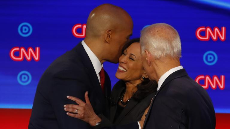 Sen. Cory Booker, D-New Jersey, former Vice President Joe Biden and Sen. Kamala Harris, D-California, talk after the second of two Democratic presidential primary debates hosted by CNN Wednesday, July 31, 2019, in the Fox Theatre in Detroit. (AP Photo / Paul Sancya)