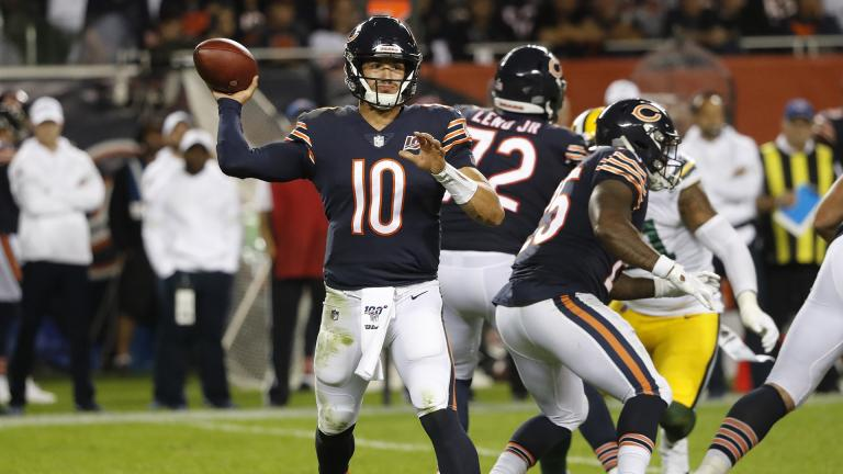 Chicago Bears' Mitchell Trubisky throws during the second half of an NFL football game against the Green Bay Packers Thursday, Sept. 5, 2019, in Chicago. (AP Photo / Charles Rex Arbogast)