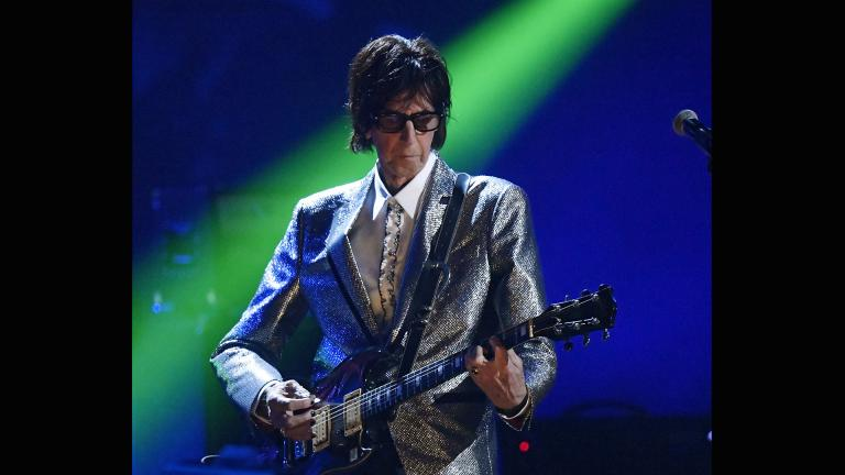 In this April 14, 2018, file photo, Ric Ocasek, from the Cars, performs during the Rock and Roll Hall of Fame Induction ceremony in Cleveland. (AP Photo / David Richard, File)