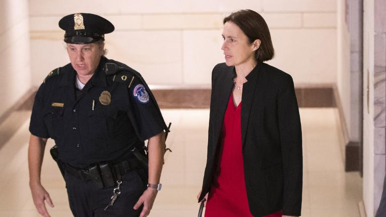 Former White House advisor on Russia, Fiona Hill, arrives on Capitol Hill in Washington, Monday, Oct. 14, 2019, as she is scheduled to testify before congressional lawmakers as part of the House impeachment inquiry into President Donald Trump.  (AP Photo / Manuel Balce Ceneta)