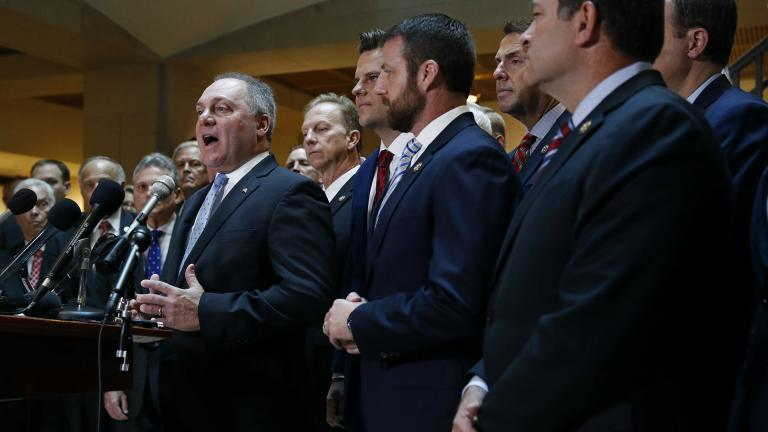 House Minority Whip Steve Scalise, R-La., left, speaks at a news conference in front of House Republicans after Deputy Assistant Secretary of Defense Laura Cooper arrived for a closed door meeting to testify as part of the House impeachment inquiry into President Donald Trump, Wednesday, Oct. 23, 2019, on Capitol Hill in Washington. (AP Photo / Patrick Semansky)