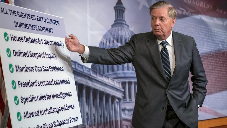 "Sen. Lindsey Graham, R-S.C., speaks about a resolution he says he will introduce condemning the Democratic-controlled House for pursuing a ""closed door, illegitimate impeachment inquiry,"" during a news conference at the Capitol in Washington, Thursday, Oct. 24, 2019. (AP Photo / J. Scott Applewhite)"