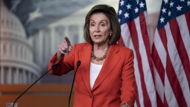 Speaker of the House Nancy Pelosi, D-Calif., talks to reporters just before the House vote on a resolution to formalize the impeachment investigation of President Donald Trump, in Washington, Thursday, Oct. 31, 2019. (AP Photo / J. Scott Applewhite)